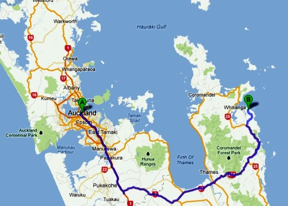 Auckland to Cathedral Cove